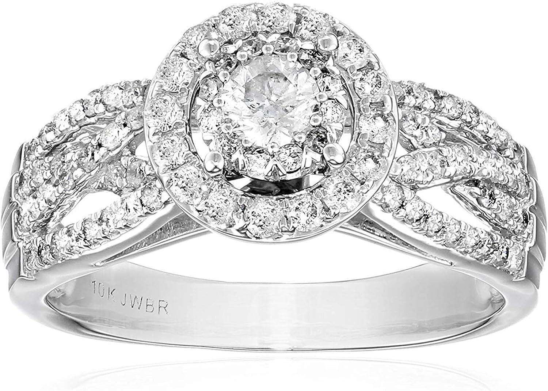 Jewelili 10kt New life White Gold 1cttw Las Vegas Mall Round Diamond Engag Natural
