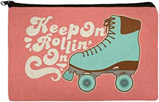 Roller Skates Derby Keep On Rolling Skating Makeup Cosmetic Bag Organizer Pouch