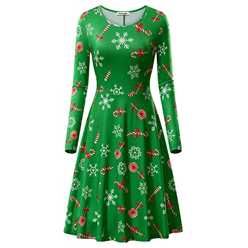c8f49bcc0fb7 VETIOR Womens Ugly Christmas Xmas Dress Long Sleeve Casual Aline Party Dress