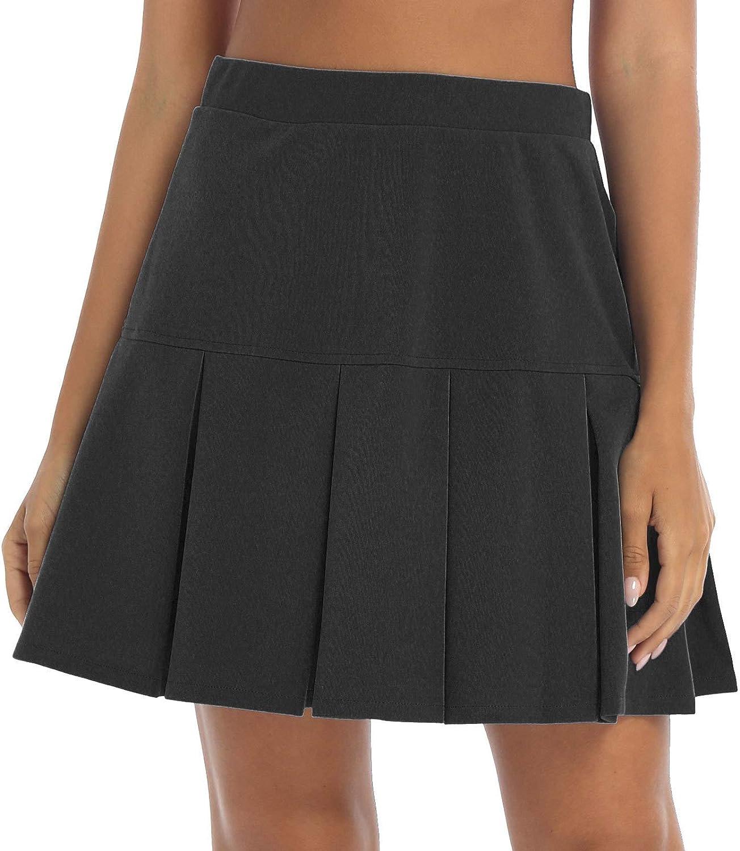 FEESHOW Women Girls Short High Waist Pleated Skirt Casual Solid Color Miniskirt School Skirts