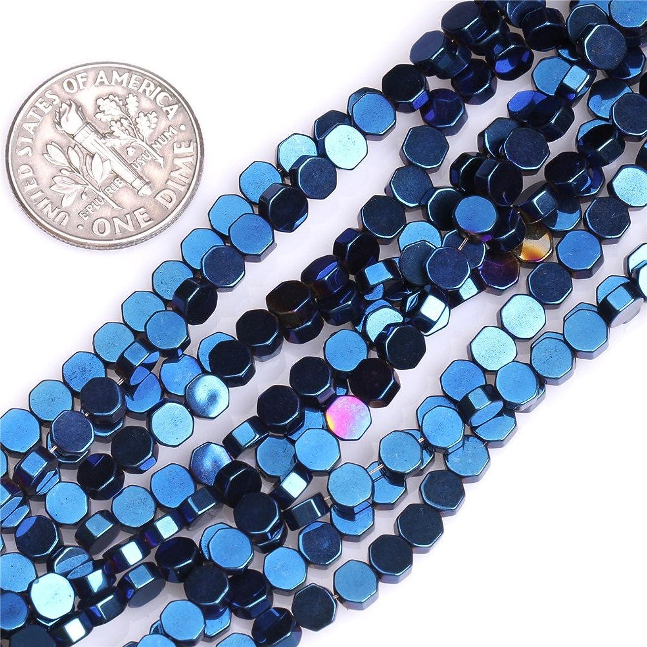 JOE FOREMAN 4mm Hematite Semi Precious Gemstone Blue Hexagon Loose Beads for Jewelry Making DIY Handmade Craft Supplies 15