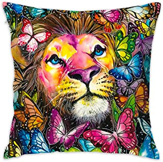 SARA NELL Velvet Throw Pillow Cases,King Lion with Colorful Butterfly,Pillow Covers Decorative 18x18 in Pillowcase Cushion Covers with Zipper