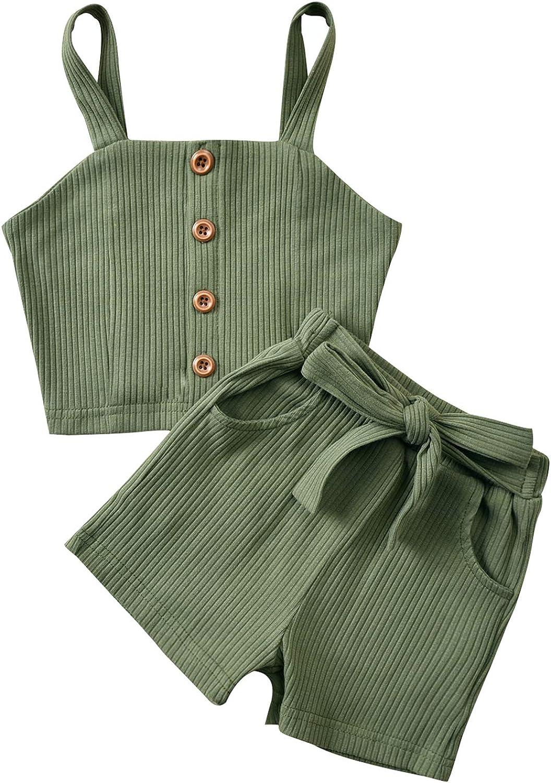 Blotona Toddler Baby Girl Cotton Linen Outfit Sleeveless Button Top Basic Plain Shorts Summer Sets