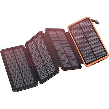 FEELLE ソーラーチャージャー 20000mAh モバイルバッテリー ソーラー IPX6防水 ソーラー充電器 携帯充電器 太陽光で充電可能 コンパクト LEDライト付き 地震/災害/アウトドア活動 iPhone/iPad/Andriodと対応