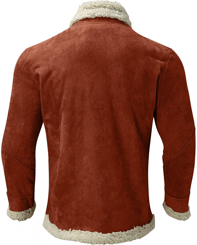 PHSHY Men's Sherpa Fleece Lined Jackets Faux Fur Jackets Winter Warm Thicken Lapel Collar Trucker Coats Big and Tall