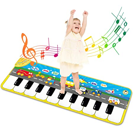 Alfombra Piano de Suelo Alfombra Musical de Teclado Alfombrilla Musical Tapete Baile Estera Piano Mat Touch Juego Regalo Juguete para Niños Bebe 120 x ...