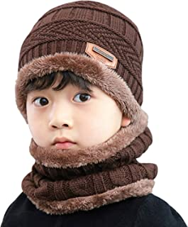 AMAZACER Kids Winter Fleece Lined Beanie Hat Neck Warmer Scarf Set for Boys Girls (Color : Coffee)