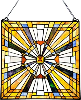 Pharaoh's Jeweled Stained Glass Panel: 17.5 Inch Decorative Window Hanging - Tiffany Style Framed Hangings for the Wall or Windows - Clear, Gold, Yellow and Blue Frank Lloyd Wright Mission Decoration