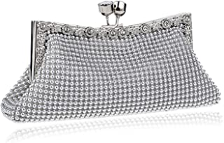 Clutch Handbag Dinner Fashion Banquet Pocket Women's Crossbody Bag Beading Shoulder Bags Gold Wallet Silver Shiny Rhinestones (22×4×9cm)