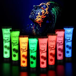 Luckyfine 8 x 28g Pintura Corporal y Facial - UV Glow, Pintura Neón Fluorescente 8