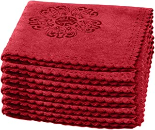 """Xiazhi Kitchen Dish Towels, Cotton Tea Towels, Heavy Duty Absorbent Dish Clothes, 6 Pack, 12""""x12"""" (RED)"""