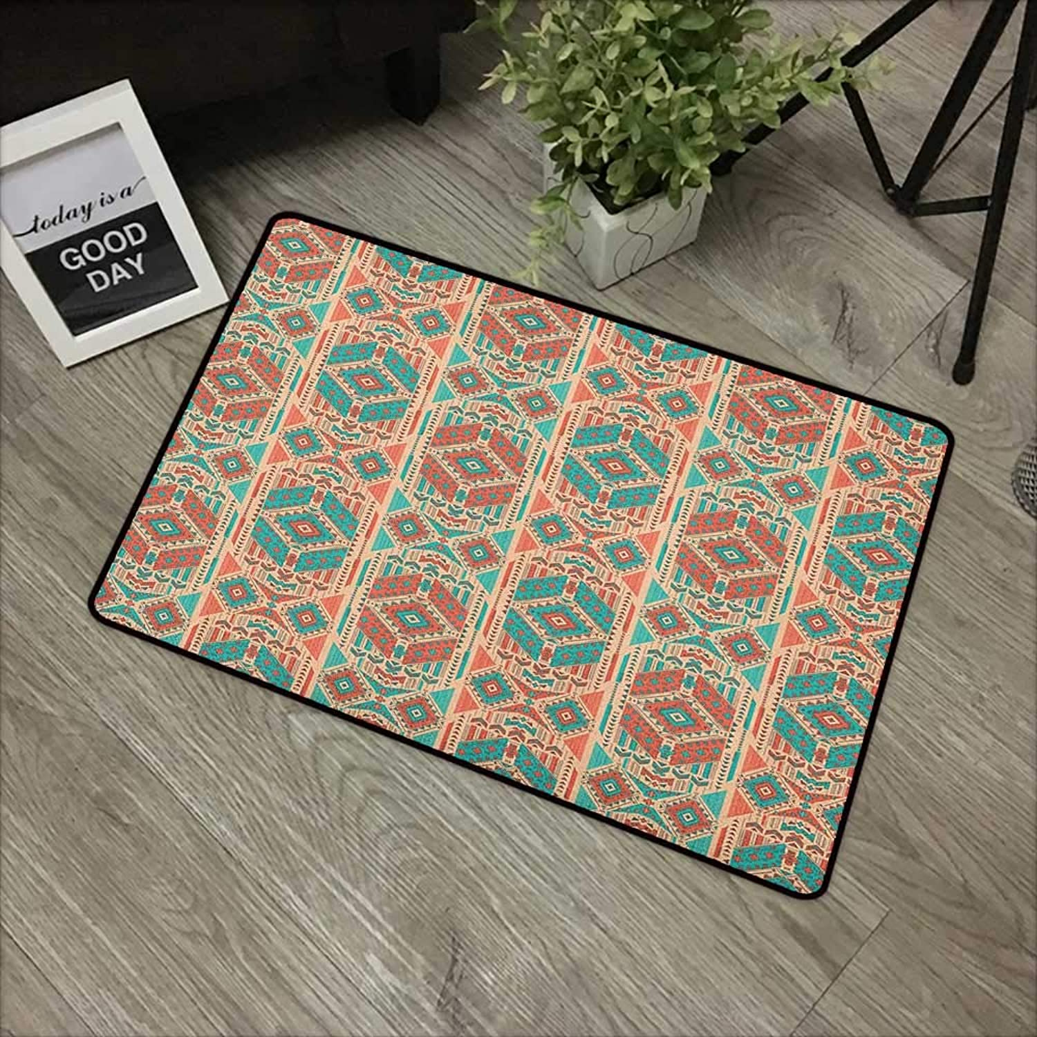 Living room door mat W35 x L59 INCH Mexican,Vintage Pastel Toned Geometric Composition American Motifs, Pale Sea Green Coral Dark Coral Easy to clean, no deformation, no fading Non-slip Door Mat Carpe