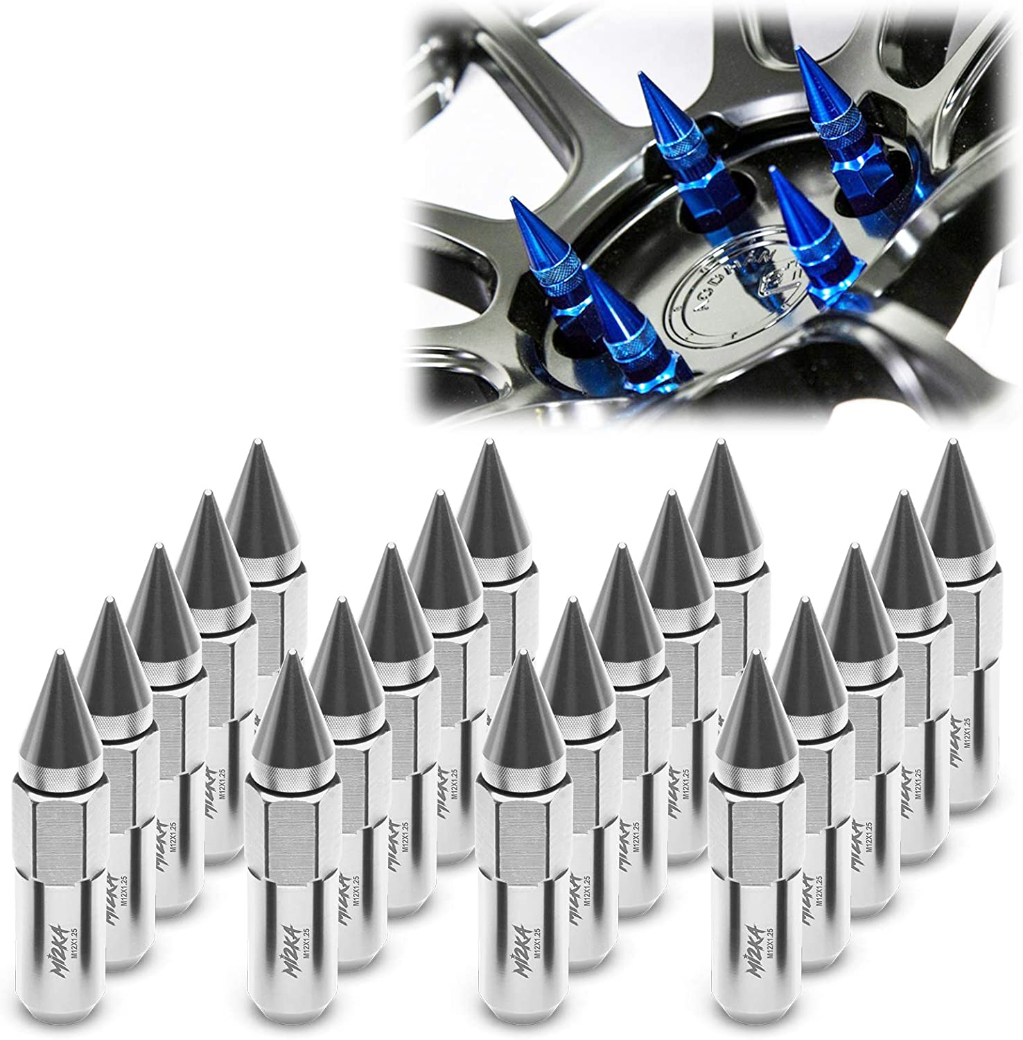 EzAuto Wrap Silver 20 PCS M12x1.25 Nuts Lug Direct Sale sale of manufacturer Extended Spiked 60mm
