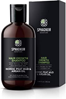 Argan Oil Hair Loss Shampoo - with Natural Nordic Peat Mud - Organic DHT Blocker - No SLS, Parabens, Sulfate-Free - Effective Hair Growth and Thickening Treatment for Thinning/Damaged Hair