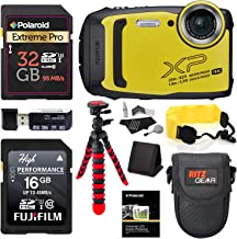 $229 Get Fujifilm Finepix XP140 (Yellow) Point and Shoot Camera Bundle with Memory Cards, Tripod, Float Strap, Memory Card Reader and More