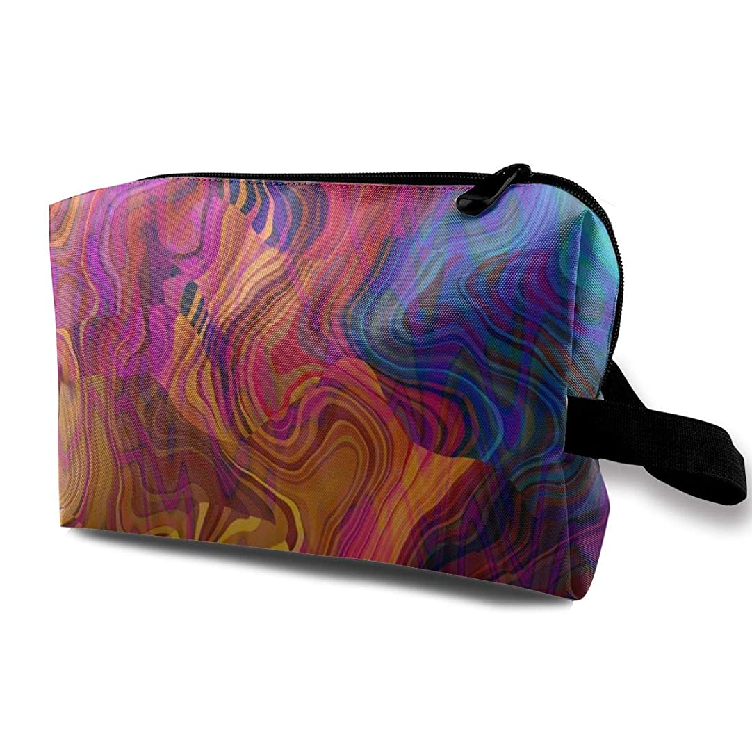 マウント雄大な報復するカラフルな混oticとした波 化粧バッグ 収納袋 女大容量 化粧品クラッチバッグ 収納 軽量 ウィンドジップ