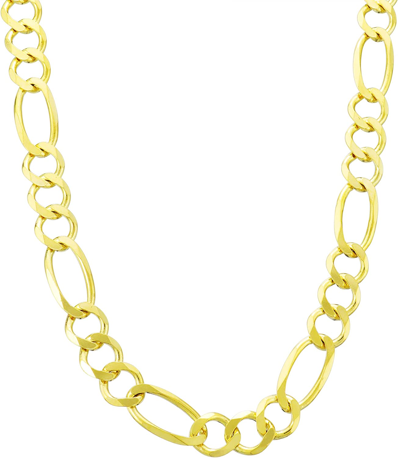 Nuragold 10k Yellow Gold 7mm Figaro Chain Link Pendant Necklace, Mens Womens Lobster Lock 20