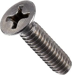 Stainless Steel Machine Screw, Plain Finish, Flat Head, Phillips Drive, 1/4
