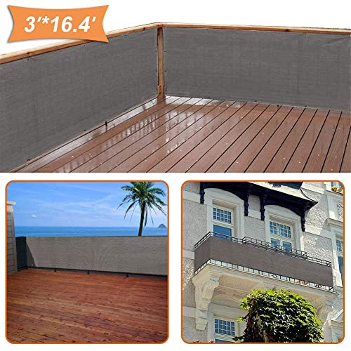 51287bf2 zimo Balcony Privacy Shield UV Protection Opaque Weather-Resistant Balcony  Cover (Grey) 3