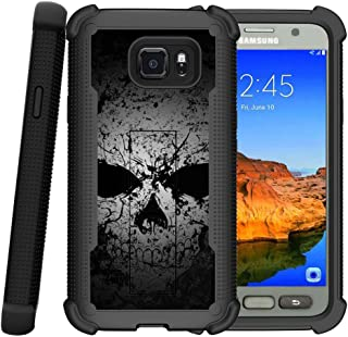 MINITURTLE Compatible with Samsung Galaxy S7 Active Case, S7 Active Cover [Shockwave Armor] Heavy Duty Hybrid Stand Case Faded Skull