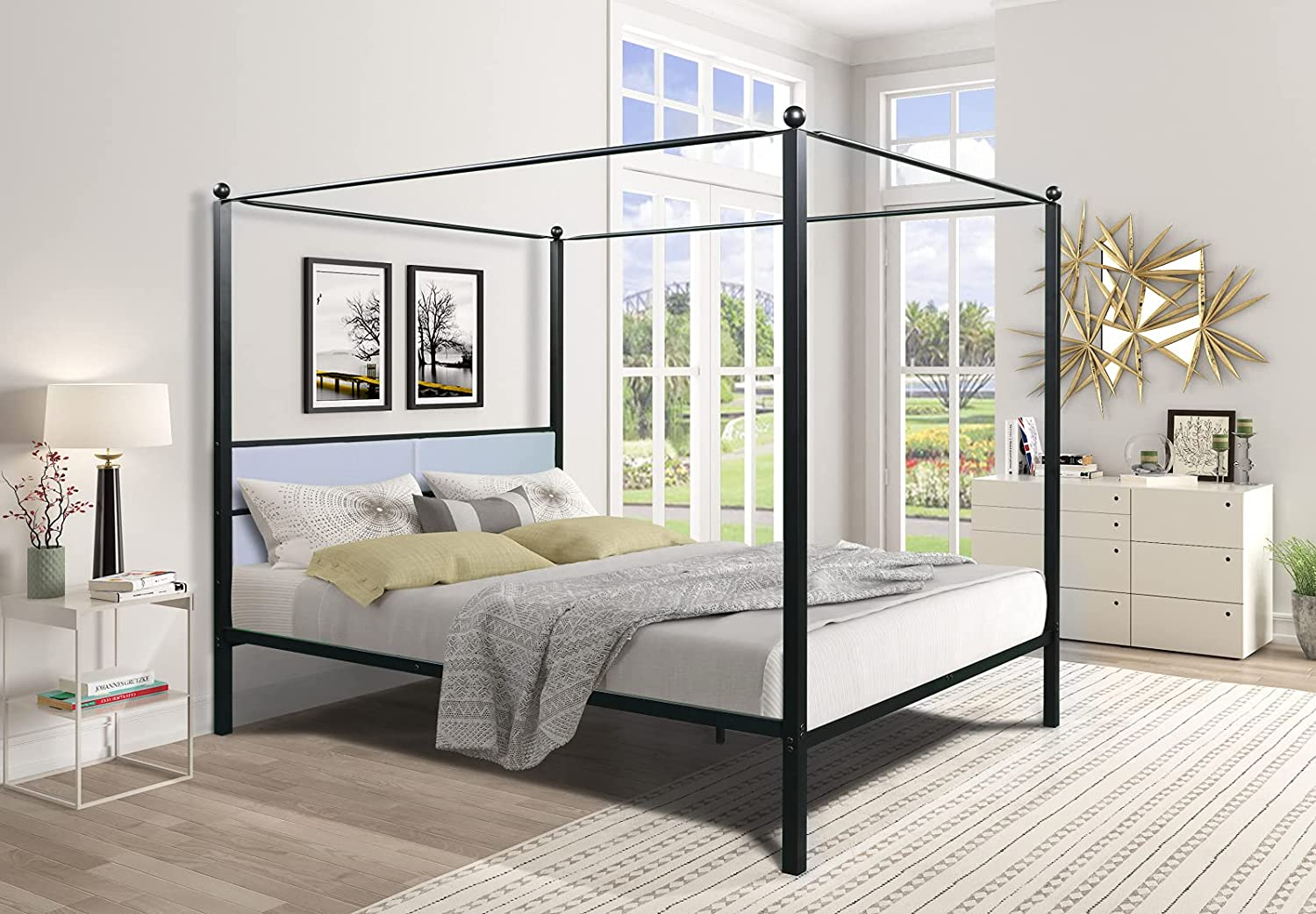 TITA-DONG Queen Canopy Store Metal Frame Upholstered Sale Four-Poster Bed