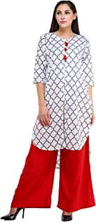 MEVE White Jaipuri Kurta and Palazzo Set for Women (M)