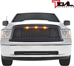 Tidal Replacement Ram ABS Upper Grille Front LED Grill - Matte Black - With Amber LED Lights for 09-12 Dodge Ram 1500