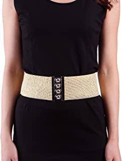 43a44674c7 HDE Women s Cinch Belt Elastic Stretch Fashion Waist Band W Clasp Buckle ...