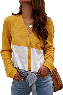 Sweaters for Women Button Down Knot Casual Soft Knitted Cardigan Jumper