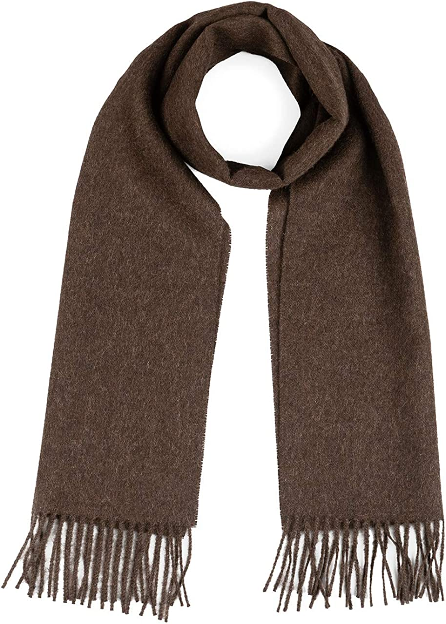 100% Pure Baby Alpaca Wool Scarf, Solid Natural Dye-free Colors for Men & Women