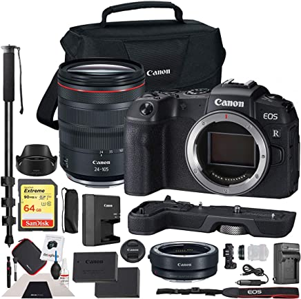 $2377 Get Canon EOS RP Full-Frame Mirrorless Digital Camera Body with RF 24-105mm F4 L is USM Lens Kit and EF-EOS R Lens Adapter & Extension Grip EG-E1 + Shoulder Bag + Deco Gear Extra Battery Essential Bundle