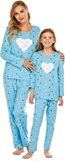 Mom Pajamas & Matching Girl Daughter Pajama Set Hearts Shape Pattern Family Sleepwear