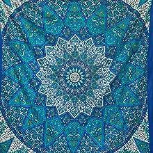 momomus Tapiz Mandala Estrella - 100% Algodón, Grande, Multiuso - Pareo/Toalla de Playa Gigante - Manta de Picnic Ligera o Alfombra Antiarena XXL - Azul, 210x230 cm