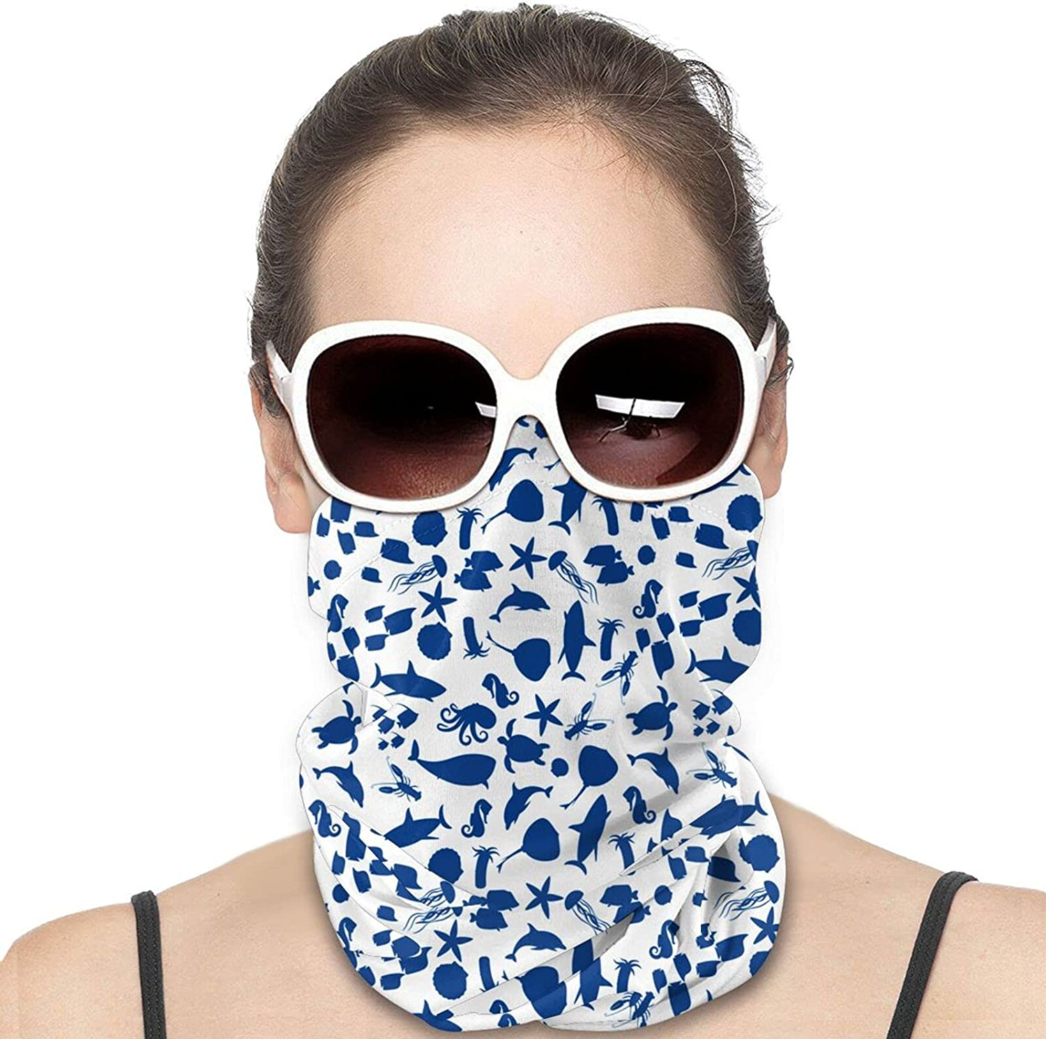 Marine Animal Silhouette Round Neck Gaiter Bandnas Face Cover Uv Protection Prevent bask in Ice Scarf Headbands Perfect for Motorcycle Cycling Running Festival Raves Outdoors