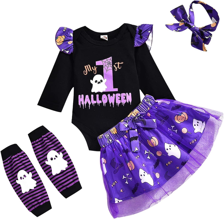 Baby Girl My 1st Halloween Skirt Set Long Sleeve Romper+Tutu Dress+Leg Warmers+Headband 4pcs Outfits