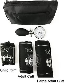 EMI 3 Cuff Aneroid Sphygmomanometer Combination Set. Includes Palm Type sphygmomanometer and Large Adult Cuff, Adult Cuff, and Child Cuff.