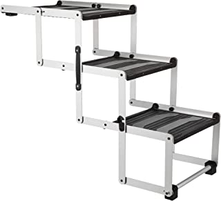 Heavy Duty Foldable Aluminum Pet Steps, for Dogs Up to 165 Pounds Height Adjustable from 19.5 to 27.5 Inches