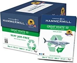 product image for Hammermill 86780 Great White 50 Recycled Copy Paper, 20-lb, 8-1/2 x 11, White, 5000/Carton