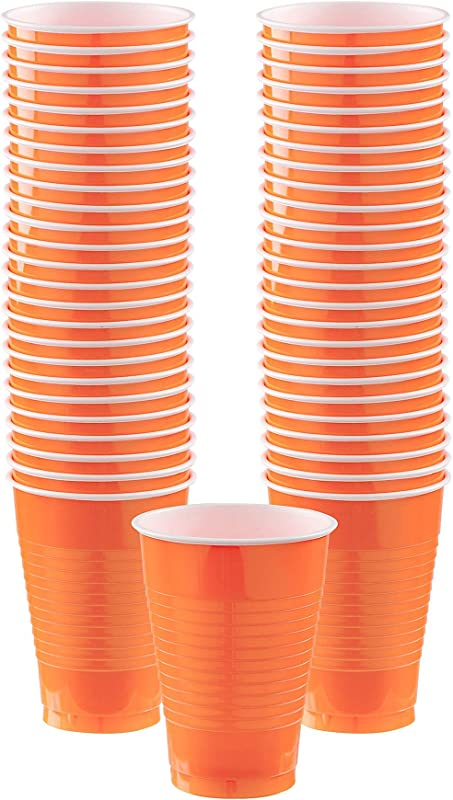 Big Party Pack Orange Peel Plastic Cups 12 Oz Pack Of 50 Party Supply