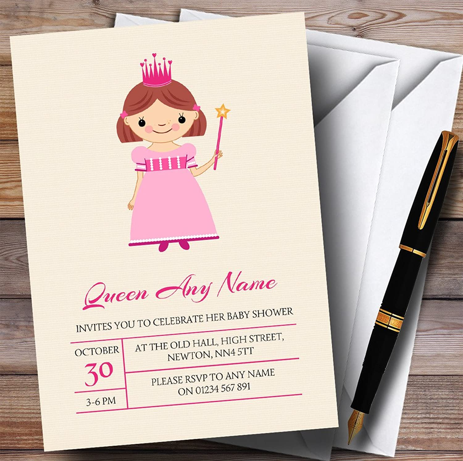 Pink Princess With Wand Invitations Baby Shower Invitations