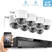 Amcrest 8CH 4MP Security Camera System, (8) x 4-Megapixel IP67 Weatherproof Dome WiFi IP Cameras, 3.6mm Angle Lens, Hard Drive Not Included, NV4108-HS-IP4M-1028W8 (White)