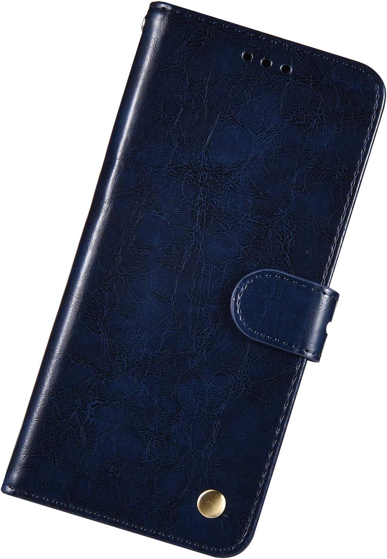 Coque Compatible avec Galaxy A6 2018 Affaires Portefeuille PU Cuir Flip /Étui Housse Magn/étique Couverture /à rabat Protective Case Support Slots de Cartes Homme Femme Cire Dhuile Bumper,Bleu Fonc/é
