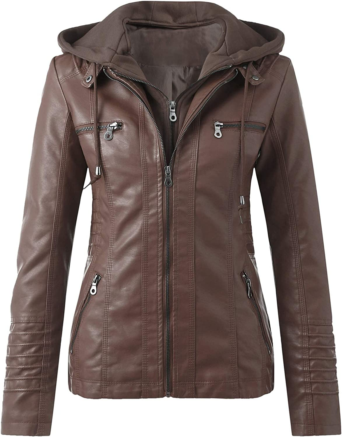 Tynelles Womens Faux Leather Motorcycle Jacket Zip Up Fitted Slim Coat Biker Outwear with Hood Short PU Jacket with Pocket Brown