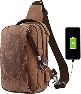 Canvas Sling Bag Pack, Anti-theft Sling Bags for Men Women, Vintage Style Crossbody Backpack Casual Daypack