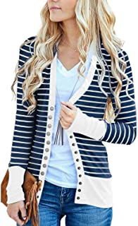 RichCoco Women s Striped Snap Button Down Open Front Long Sleeve Contrast  Color Casual Cardigans Sweaters bffe7197c