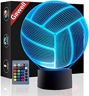 Christmas Gift Volleyball 3D Illusion Birthday Present Lamp, Gawell 7 Color Changing Touch Switch Table Desk Decoration Night Light with Acrylic Flat & ABS Base & USB Cable Toy for Sports Theme