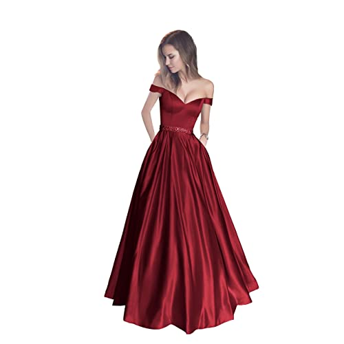 6baa446697b Harsuccting Off The Shoulder Beaded Satin Evening Prom Dress with Pocket