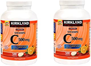 Kirkland Signature Vitamin C 500mg 2-Pack or 1000 Tangy Orange Chewable Tablets