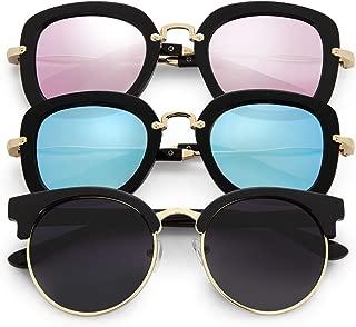 Girls Sunglasses Fits Teen & Kids Age 8-13. Retro Vintage 3 Pack. UV400 Polarized Glasses Black Pink Blue Lens