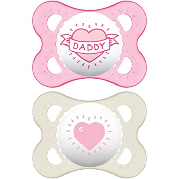 MAM I Love Daddy Collection Pacifiers (2 pack, 1 Sterilizing Pacifier Case), MAM Pacifier 0-6 Months, Baby Pacifiers, Baby Girl, Best Pacifier for Breastfed Babies, Designs May Vary